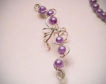 Silver Ear Cuff Purple Pearls Large Ear Wrap