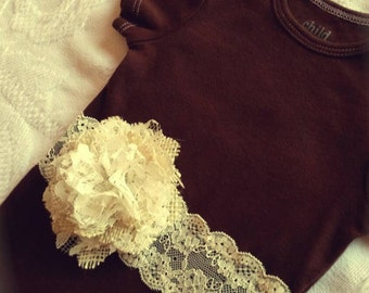 Dark Brown and Ivory Lace onsie