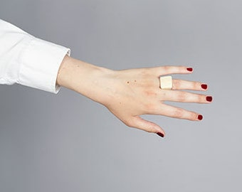Bone Ring in White/Cream. Polished Square style. Minimal/Artisanal. Ethically Handmade in West Africa. Free shipping. US 6/UK L