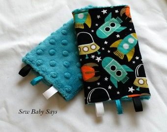 Baby Carrier Teething Pads-Reversible Strap Cover-Retro Rockets/Teal Minky Drool Pads