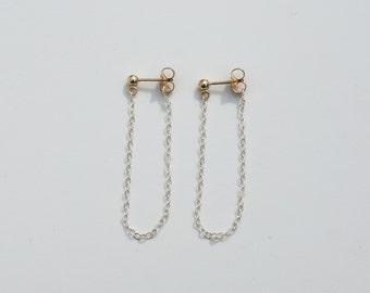 Chain Earrings. Sterling Silver Earrings. Gold and Sterling Silver Earrings. Minimalist Earrings