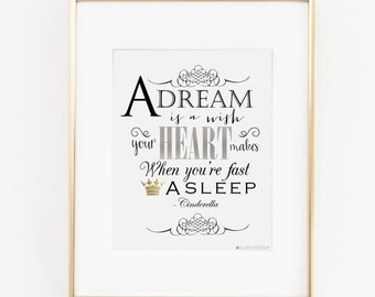 A Dream is a Wish Your Heart Makes When You're Fast Asleep 8X10 Wall Art | Cinderella Bedroom Art  | Little Girls Princess Room | Cinderella