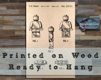 FREE SHIPPING.  Wooden Lego Man Patent Print.  Printed on Wood and Ready to Hang.   {Patent print art, patent poster}