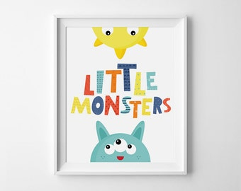 Playroom wall art, Baby nursery art, Children's wall art, digital download, wall decor, printable quote, kids room decor, Little Monster