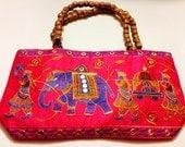 Handmade handbag purse shoulder bag embroidered cotton elephant design color pink.