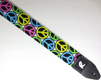Peace Sign Guitar Strap - Groovy - Hippie - Colorful