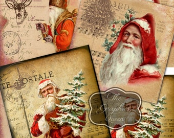 Vintage Santa Claus 3.8x3.8 inch Digital Collage Sheet Printable Christmas Images for Coasters Greeting cards Magnets Gift tags