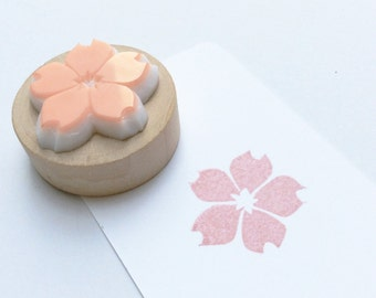 sakura stamp. hand carved stamp. rubber stamp. mounted