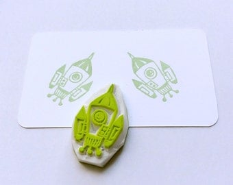 Rocket stamp. Rubber stamp. Hand carved stamp. Mounted.