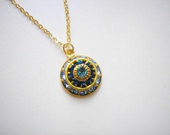 SALE - Vintage Swarovski Sapphire Aquamarine Crystal Cluster Necklace Rare Italian Renaissance Victorian March September birthstone Blue