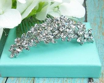 Bridal hair accessories, wedding hair comb, flower crystal rhinestone hair tiara comb hair comb wedding headpieces, silver comb 209145654