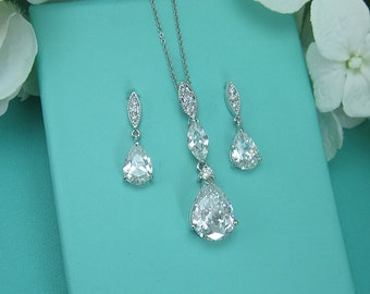 CZ Jewelry Set, Crystal Wedding Necklace Set, bridal jewelry set, wedding jewelry set, bridesmaid jewelry set, cz jewelry set 218289690