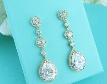 Gold Bridal earrings, cubic zirconia earrings, gold wedding jewelry, bridal jewelry, wedding earrings, bridal earrings, earrings 221656644