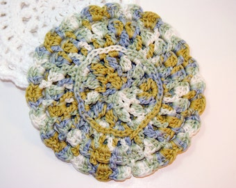 Blue and Green Crocheted Cotton Trivet