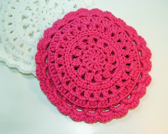 Hot Pink Crocheted Cotton Trivet