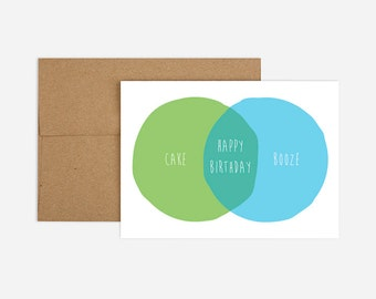 Birthday Venn Diagram Greeting Card