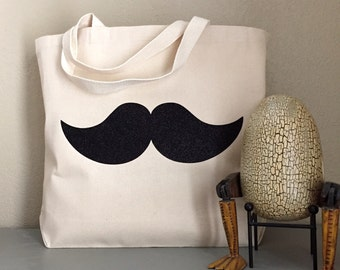 Mustache - Black Sparkle on Canvas Tote Bag - purse, beach bag or grocery bag