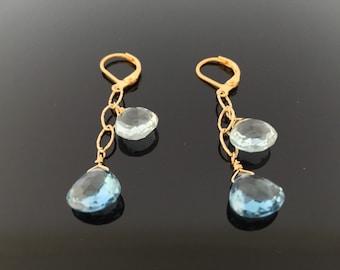 Blue Topaz and Aquamarine Gold Earrings//Natural Stones//18K Goldfill//Something Blue//Summer Earrings//Bridal