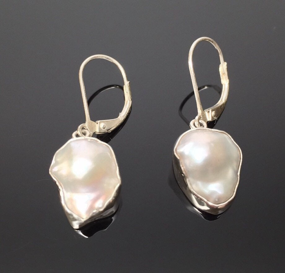small white freeform mabe pearl earrings by