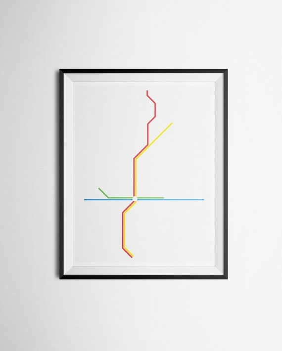 MARTA Transit Map Metro Atlanta, Georgia Light Rail Train Map Minimalist Print
