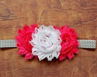 White and Pink Shabby Flower Headband