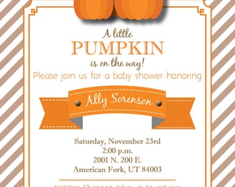 Custom Pumpkin-Themed Baby Shower Invitation