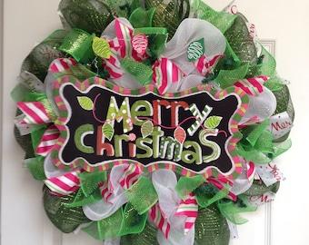 Merry Christmas Lights Handmade Deco Mesh Wreath