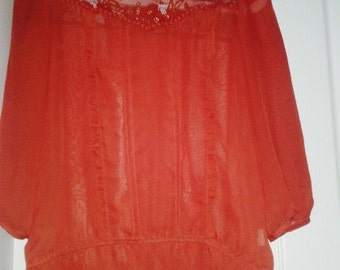 red Vintage style chiffon blouse
