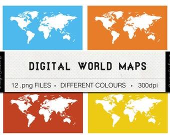 40% OFF SALE: World Map Digital Download, Coloured World Map Illustration