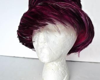 Lucila Mendez Wine Color Feather Hat Ladies