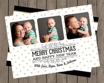 Merry Christmas Black & Gold Glitter Photo Card, DIY Christmas Card, Printable Christmas Card, Gold And Black Christmas Card, Glitter (5x7)