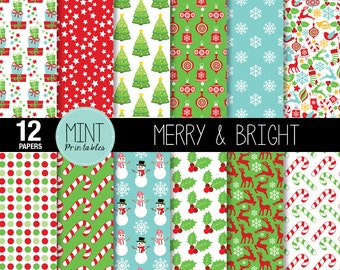 Christmas Digital Paper, Christmas Scrapbooking Paper, Christmas Printable Sheets, Patterned Paper Christmas background - BUY 2 GET 1 FREE!