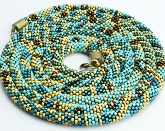 Necklace, Beadwork, Shiny, Elegent,Bead  Crochet Rope Necklace, Long, Lariat