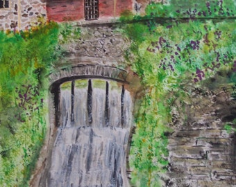 "watercolor painting,waterfalls,old building,green shrubs,Original,scenic ,watercolor painting, landscape painting,10.5"" x 7"","