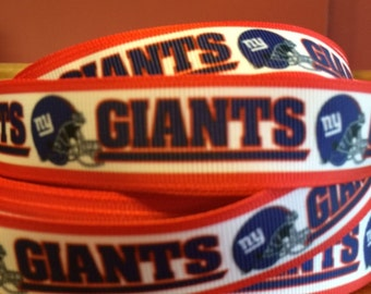 "New York Giants 7/8"" Grosgrain Ribbon - 5 Yards, NFL Football"
