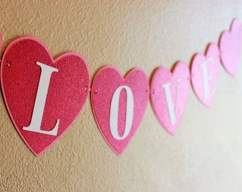 Valentines Day Heart Banner - XOXO, Love, Be Mine - Happy Valentines Day