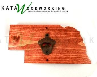 Nebraska Wood Cut-out Bottle Opener - Wall Mount - Handmade!