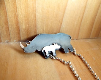 Sterling Silver Rhino Species Survival Plan Necklace