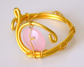 Gold-plated BRACELET and pink natural stone