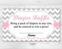 Diaper Raffle Ticket - Printable Diaper Raffle Card: pink, grey, chevron, baby girl