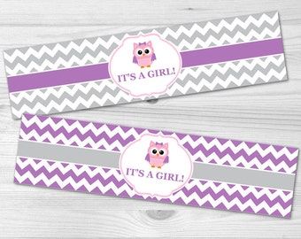 Owl Water Bottle Label - DIY Printable Baby Shower Label: baby girl, pink, chevron, grey, owl