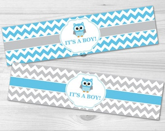 Owl Water Bottle Label - DIY Printable Baby Shower Label: baby boy, blue, chevron, grey, owl