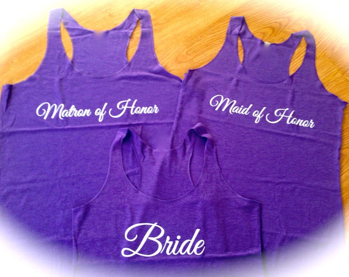 Bridesmaid shirts set of 8 . Wedding Party Tank Tops . Eco light weight loose Bridesmaid Tank Tops . White ink , hot pink ink , black ink.