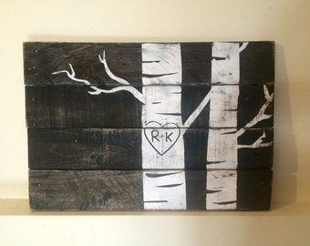 Custom hand painted pallet wood sign- birch tree with carved initials