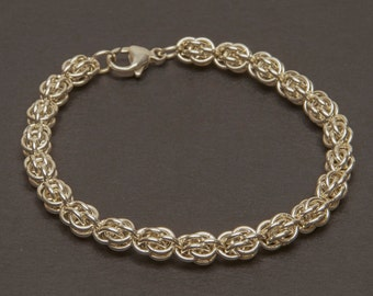 925 Sterling Silver  Sweet Pea Bracelet,  Chainmaille bracelet, Sterling Silver 13mm lobster clasp  (B49)