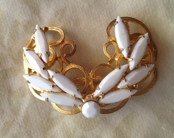 White Milk Glass Marquise and Gold Tone Brooch