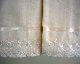 EMBROIDERED ORGANZA Lace Fingertip or Guest Towel (2) IVORY Velour Cotton, Lace Trim with Satin Ribbon New custom-embellished