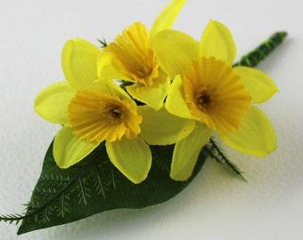 Yellow Silk Daffodil Wedding Corsage   Buttonhole   Butonieere