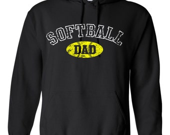 Softball Dad Distressed Printed Hoodie Softball Dad Shirt Sports Dad Sports Parent Fathers Day Gift Coach Softball Gift Softball Shirt 18500