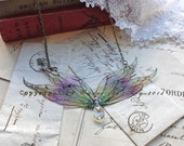 "Enchanting""Fire faerie wing necklace"""